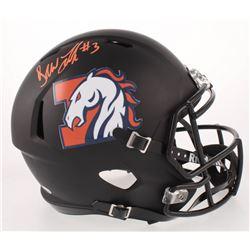 Drew Lock Signed Denver Broncos Full-Size Matte Black Speed Helmet (Beckett COA)