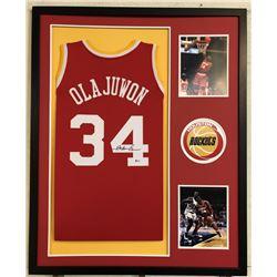 Hakeem Olajuwon Signed Houston Rockets 34x42 Custom Framed Jersey (Beckett COA)