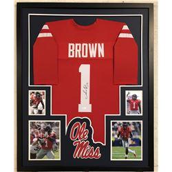 AJ Brown Signed Ole Miss Rebels 34x42 Custom Framed Jersey (JSA COA)
