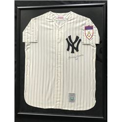 Mickey Mantle Signed 1951 New York Yankees 31x38 Mitchell  Ness Custom Framed Jersey Display Inscrib