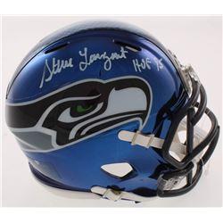 """Steve Largent Signed Seattle Seahawks Chrome Speed Mini Helmet Inscribed """"HOF 95"""" (Schwartz COA)"""