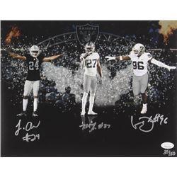 Johnathan Abram, Clelin Ferrell  Trayvon Mullen Signed LE Oakland Raiders 11x14 Photo (JSA COA)