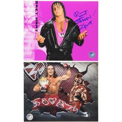 "Lot of (2) Signed WWE 8x10 Photos with (1) Bret Hart  (1) Shawn Michaels Inscribed ""Hitman""  ""HBK"" ("