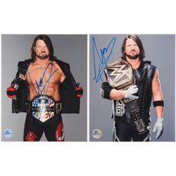 Lot of (2) A.J. Styles Signed WWE 8x10 Photos (Pro Player Hologram)
