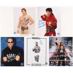 Lot of (5) WWE Signed 8x10 Photos with (1) Tito Santana, (1) Arn Anderson, (1) Kevin Nash, (1) Steve