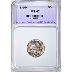 1938-D BUFFALO NICKEL, APCG SUPERB GEM