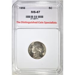 1956 JEFFERSON NICKEL, TDCS SUPERB GEM