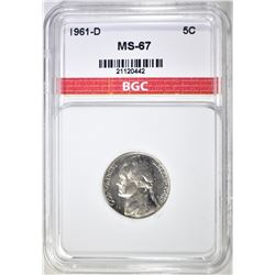 1961-D JEFFERSON NICKEL, BGC SUPERB GEM