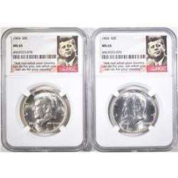 (2) 1964 KENNEDY HALF DOLLARS