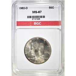 1982-D KENNEDY HALF DOLLAR, BGC SUPERB GEM