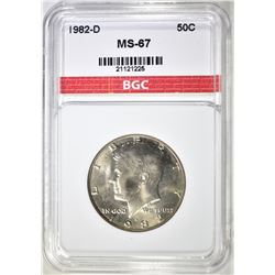 1982-D KENNEDY HALF DOLLAR, BGC SUPERB GEM