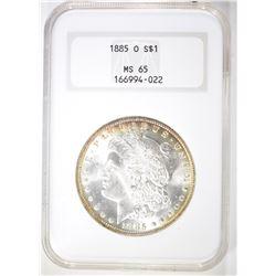 1885-O MORGAN DOLLAR  NGC MS-65  GOLD RIM TONE