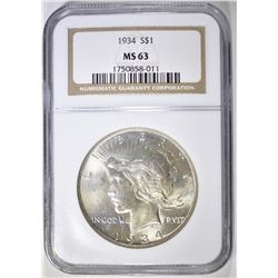 1934 PEACE DOLLAR  NGC MS-63