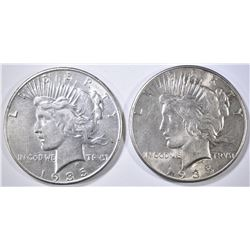 2 1935 PEACE DOLLARS XF/AU
