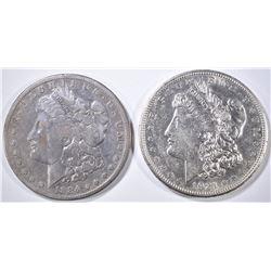 1884-S FINE, 1921-D AU/BU MORGAN DOLLARS