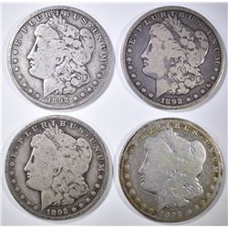 4 1892-O MORGAN DOLLARS CIRC
