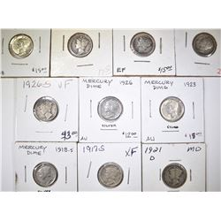 GROUP OF MERCURY DIMES MOSTLY BETTER DATES