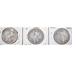 1916-D, 18-S, 27-S WALKING LIBERTY HALVES G-VG