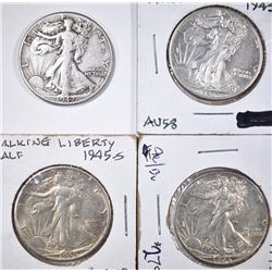 4 WALKING LIBERTY HALVES