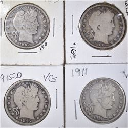 1900, 02, 11, 15-D BARBER HALVES MOSTLY VG