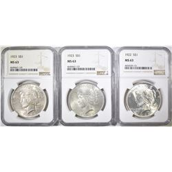 PEACE DOLLAR LOT NGC MS-63