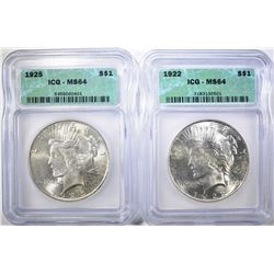 1922 & 1925 PEACE DOLLARS  ICG MS-64