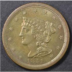 1851 HALF CENT  CH UNC.