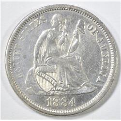 1884 SEATED LIBERTY DIME  CH BU