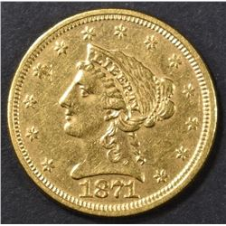 1871 $2.5 GOLD LIBERTY  BU  OLD CLEANING