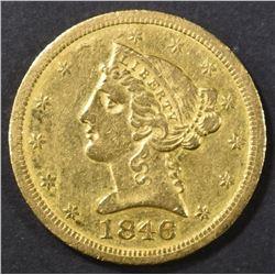 1846-O $5 GOLD LIBERTY HEAD  AU