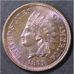 1871 INDIAN CENT GEM BU RB  KEY DATE