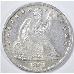 1861-S SEATED LIBERTY HALF DOLLAR BU CLEANED