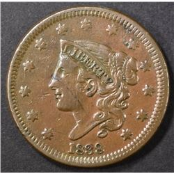 1838 LARGE CENT, XF+