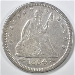 1854 ARROWS SEATED LIBERTY QUARTER AU/BU