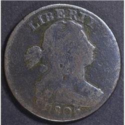 1806 LARGE CENT, VG POROUS