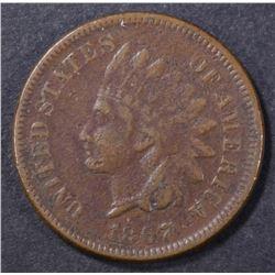 1867 INDIAN CENT FINE POROUS