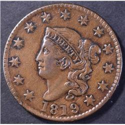 1819/8 LARGE CENT, CHOICE AU