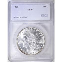 1888 MORGAN DOLLAR  SEGS CH/GEM BU