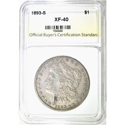 1893-S MORGAN DOLLAR, OBCS XF VERY SCARCE COIN