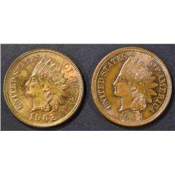1902 CH BU RB, 1907 CH BU BN INDIAN CENTS