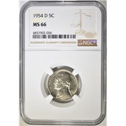 1954-D JEFFERSON NICKEL, NGC MS-66