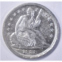 1838 LIBERTY SEATED HALF DIME AU/BU