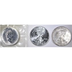 2010 & 15 ASE, 1999 MAPLE LEAF BU 1oz SILVER COINS
