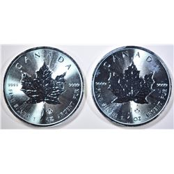 2-BU 2014 CANADA SILVER MAPLE LEAF COINS