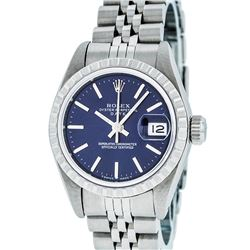 Rolex Ladies Stainless Steel Blue Index 26MM Quickset Datejust Wristwatch