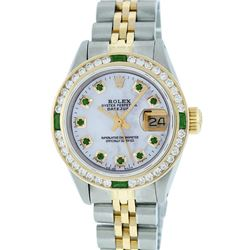 Rolex Ladies 2 Tone 14K MOP Emerald & Channel Set Datejust Wristwatch