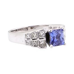 2.00 ctw Sapphire And Diamond Ring - 14KT White Gold