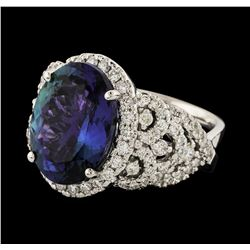 8.23 ctw Tanzanite and Diamond Ring - 14KT White Gold
