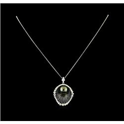 1.34 ctw Diamond and Pearl Pendant With Chain - 14KT White Gold