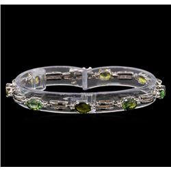14KT White Gold 7.68 ctw Multicolor Sapphire and Diamond Bracelet